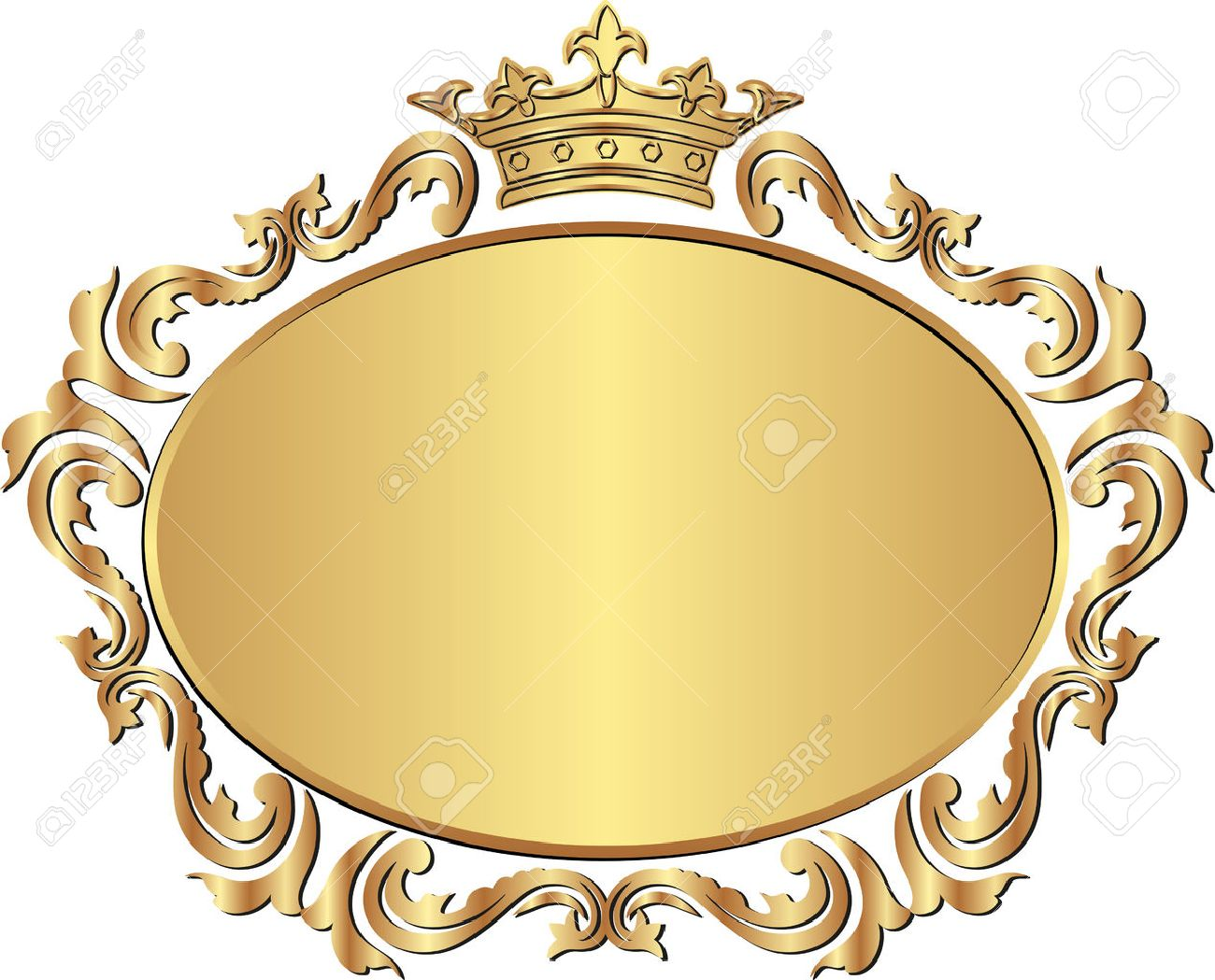 golden royal frame with crown royalty free cliparts vectors and