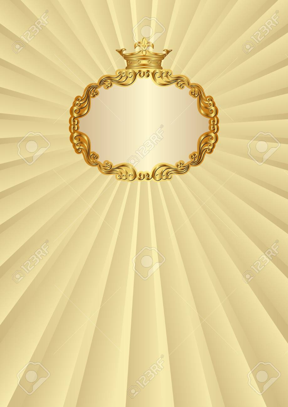 2771873f15d Golden background with royal frame. Stock Vector - 89504633