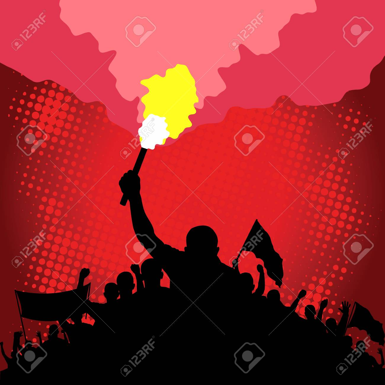 marching crowd with flare and flags - 123274278