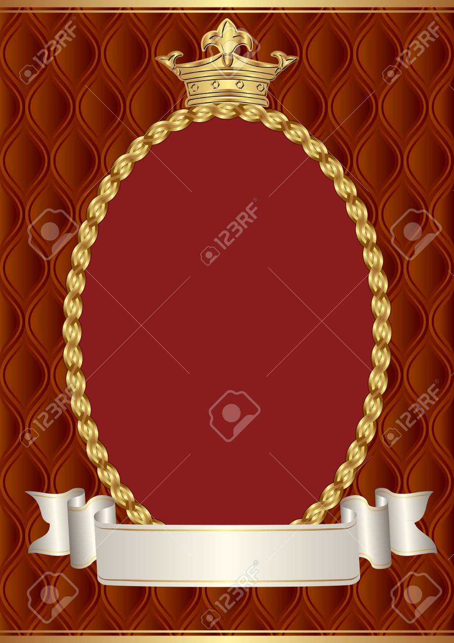 vintage background with crown and decorative border - 122900073