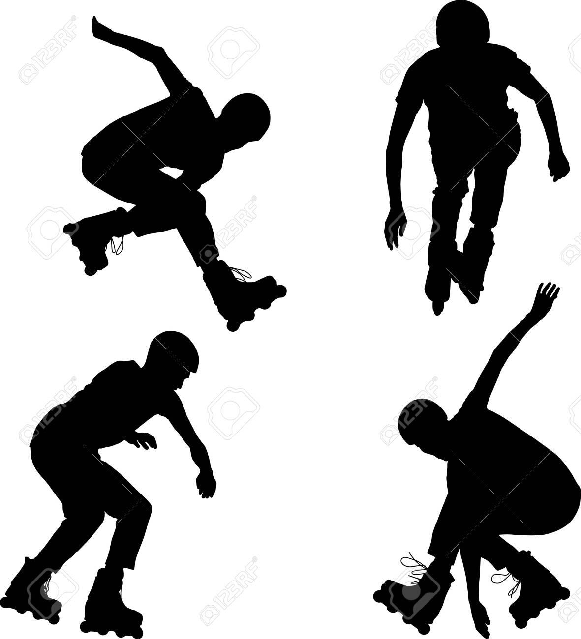 Inline roller skater silhouettes - 129949718