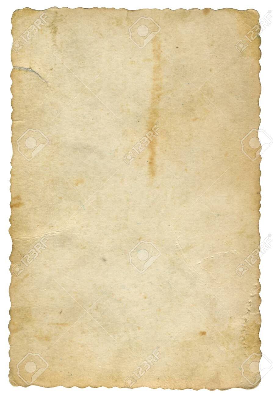 old yellowed card of paper - 129949722