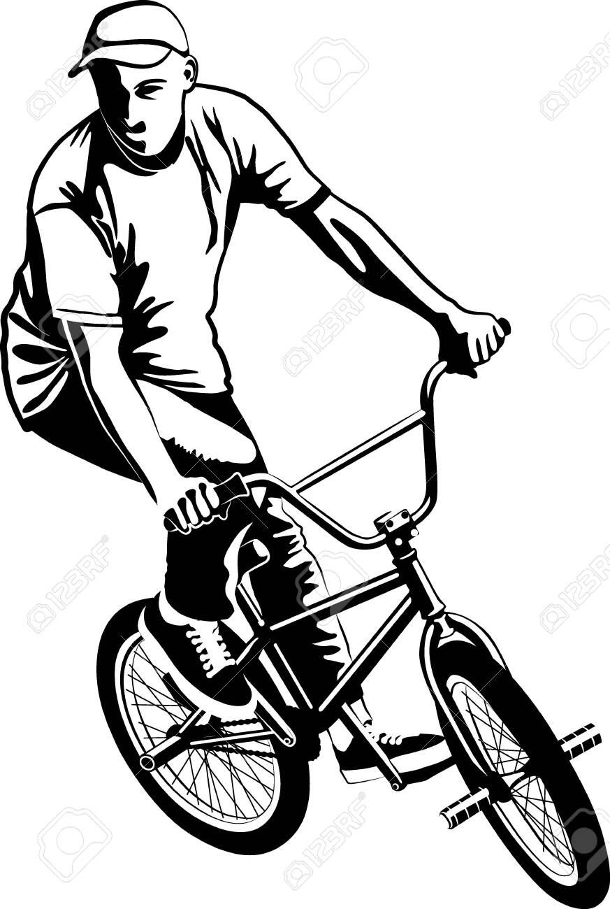 Male on BMX bike in black and white vector illustration - 149149728