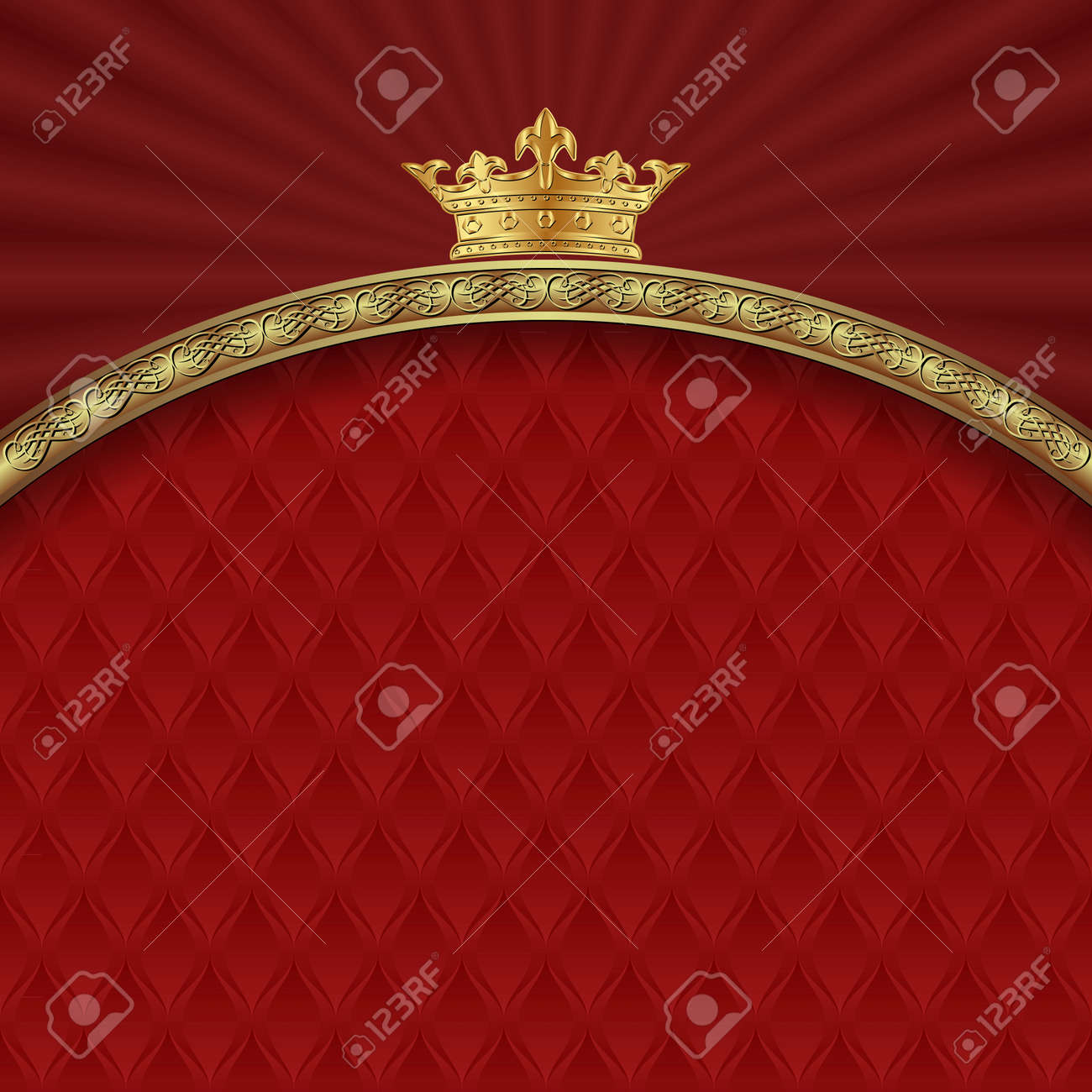 ornate background with golden border and crown - 159170406
