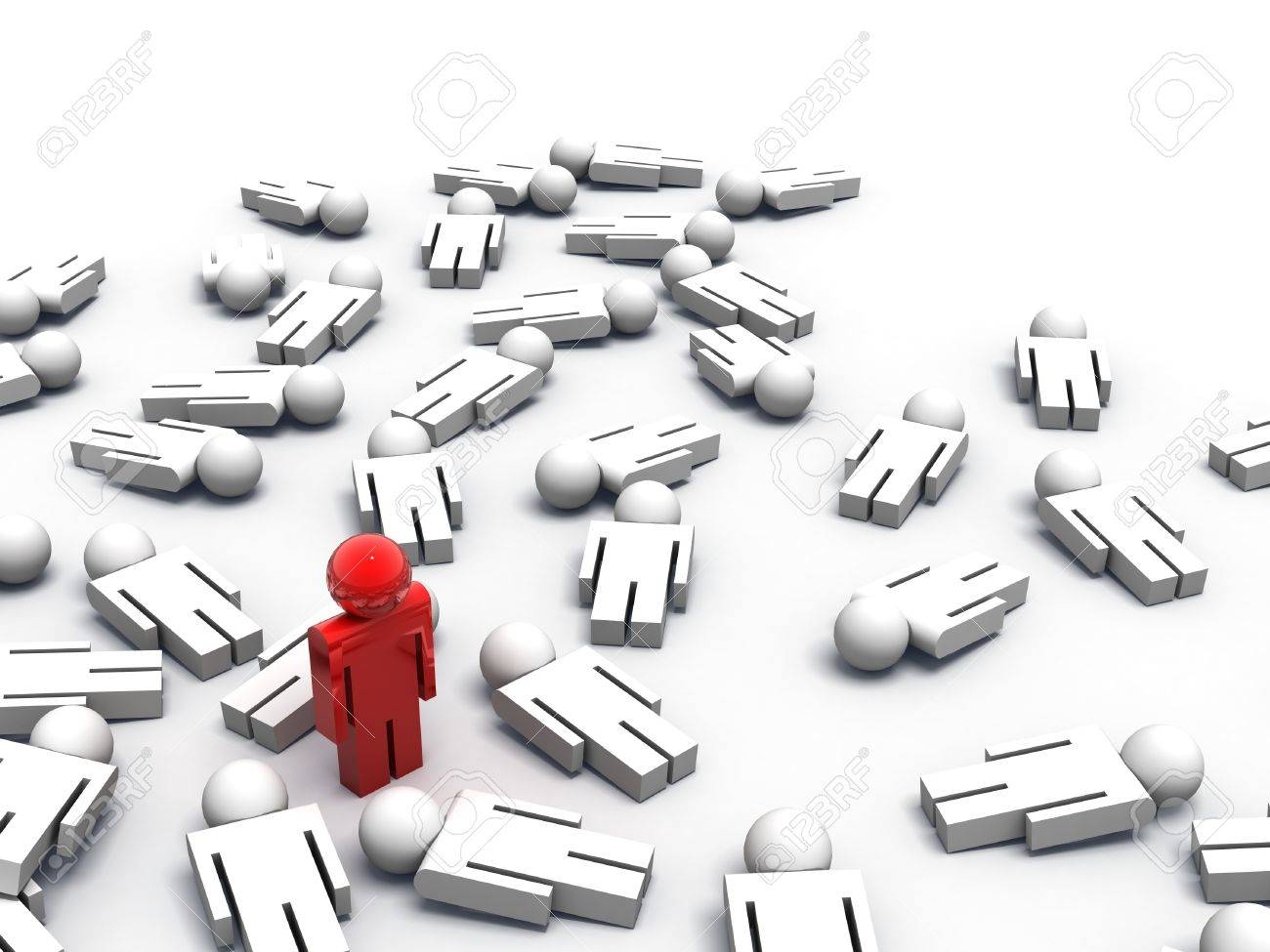 3d render of one man standing while the others are lying on the ground Stock Photo - 7004892