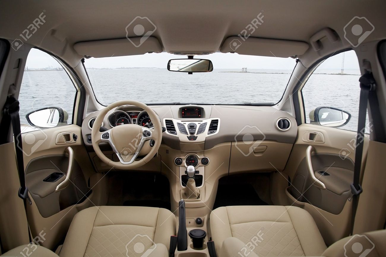 Wide View Of Modern Car Interior With Lightcolored Decoration Stock