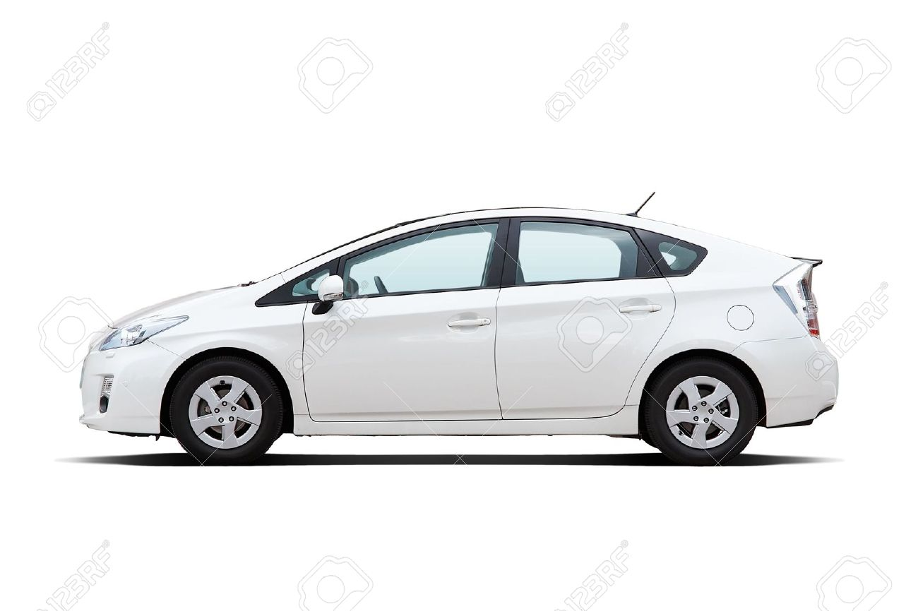 white hybrid vehicle isolated on white background stock photo