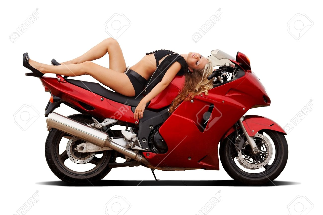 Sexy girl in bikini laying on a superbike isolated on white Stock Photo - 5351897