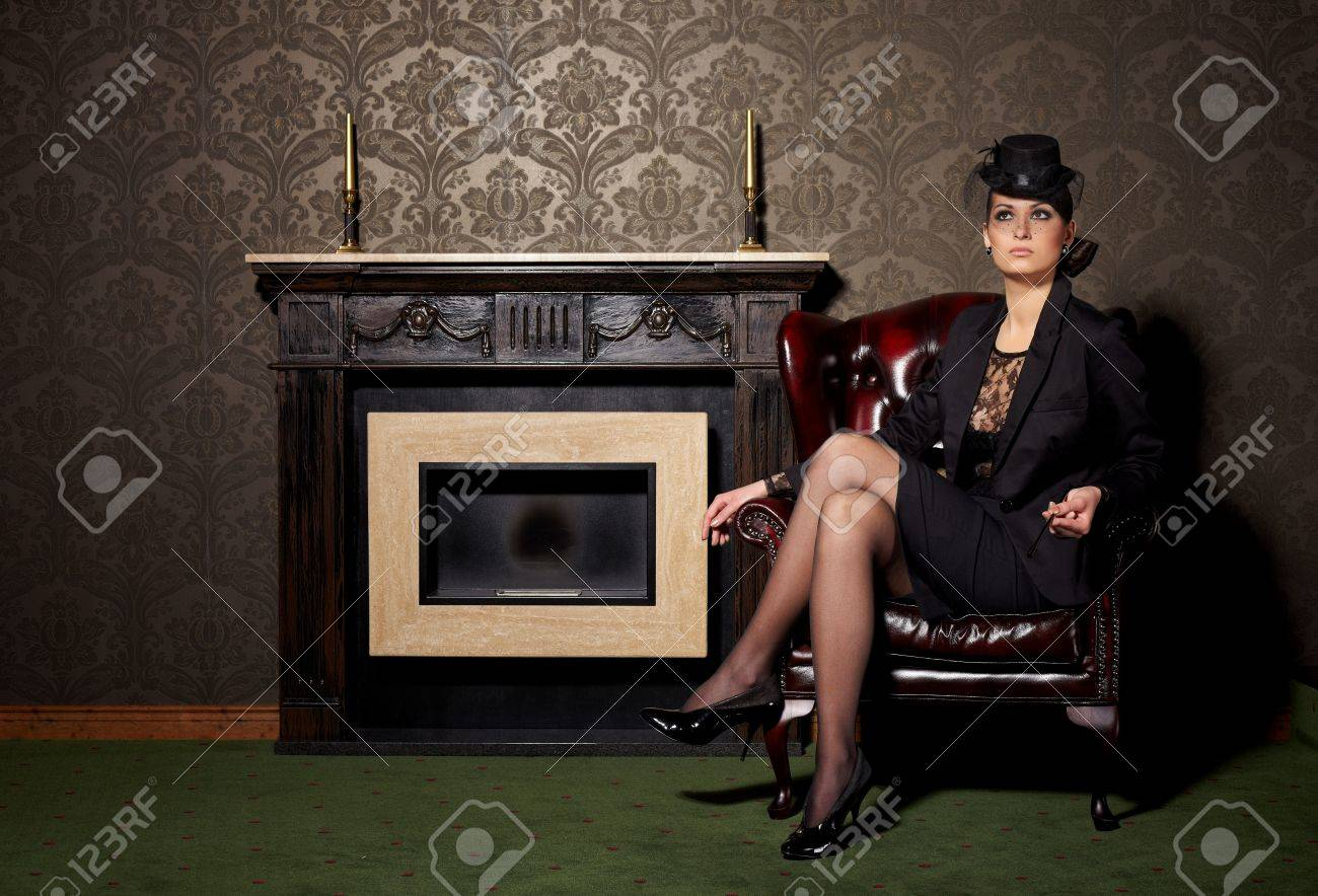 Glamorous brunette woman in vintage interior Stock Photo - 7692834