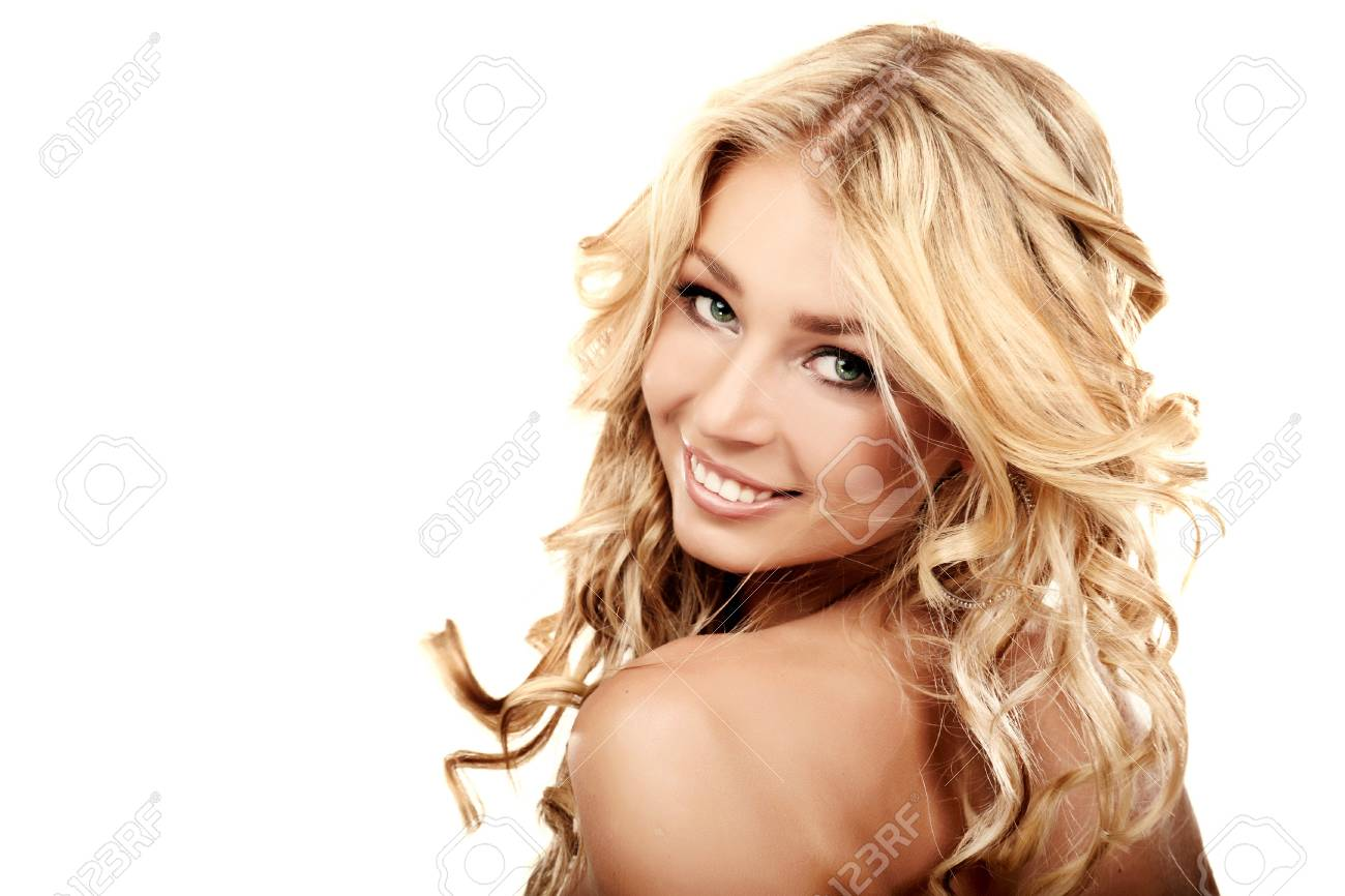 Portrait of a blond lady with a beautiful hair isolated on white Stock Photo - 7684091