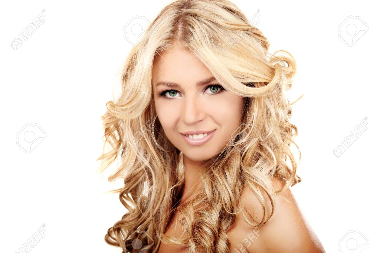 Portrait of a blond lady with a beautiful hair isolated on white Stock Photo - 7692870