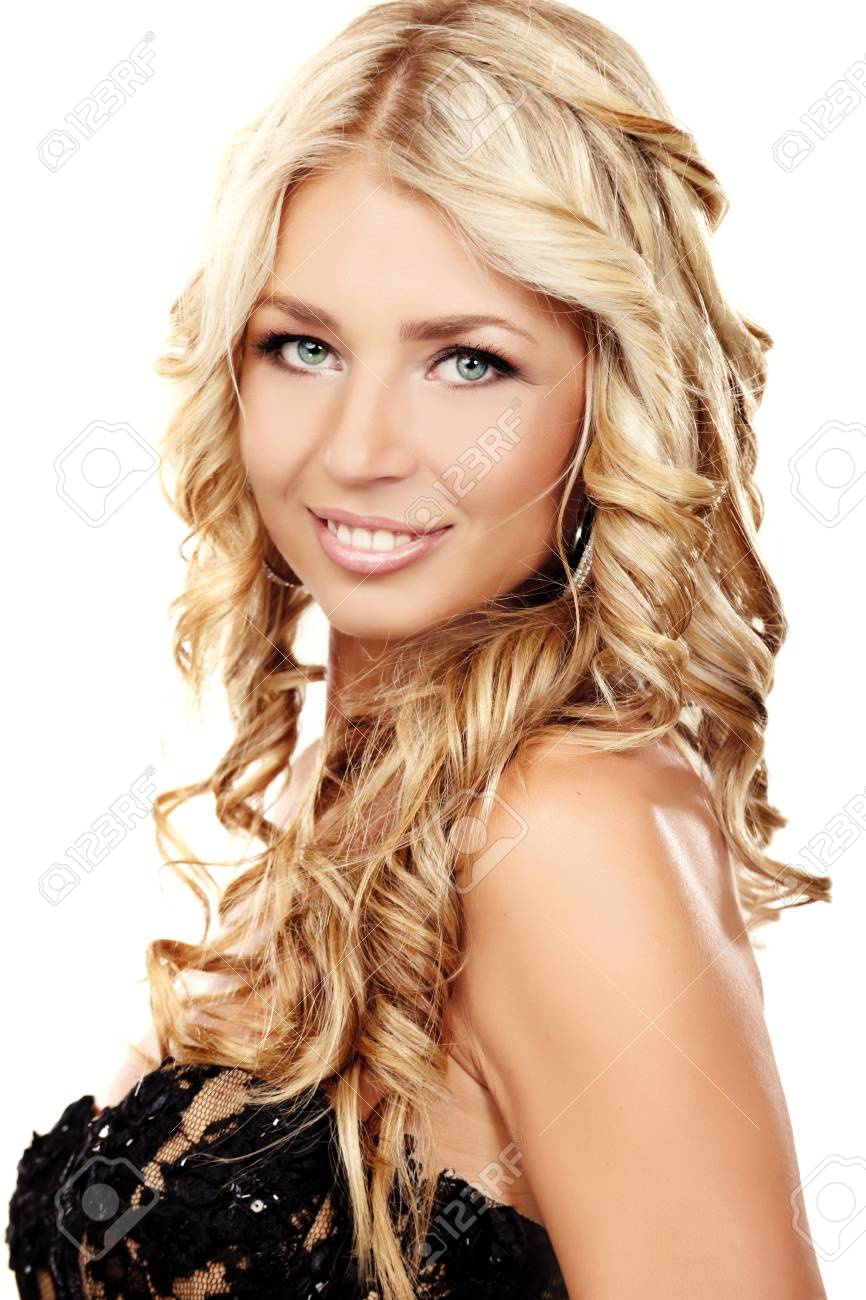 Portrait of a blond lady with a beautiful hair isolated on white Stock Photo - 7692871