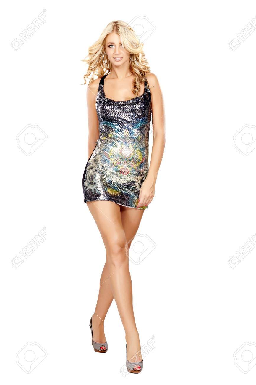Glamorous young woman in short dress on white background Stock Photo - 8251524