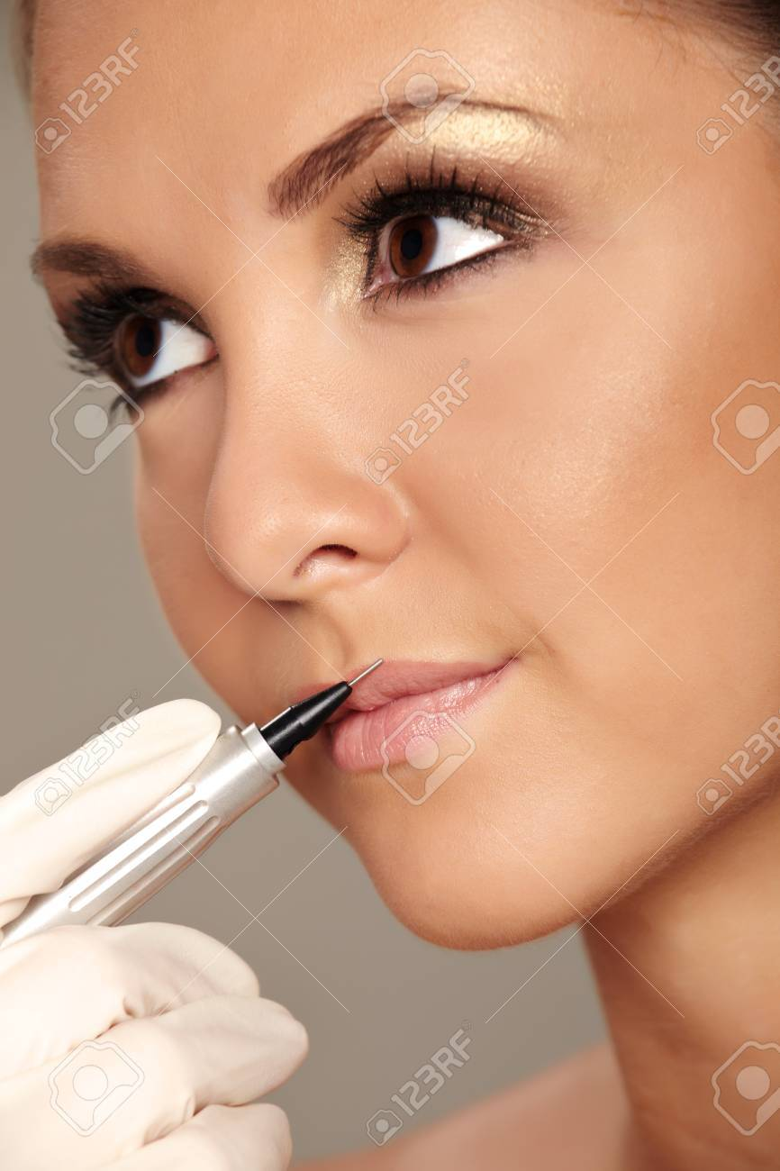 Professional permanent makeup applying Stock Photo - 8251849