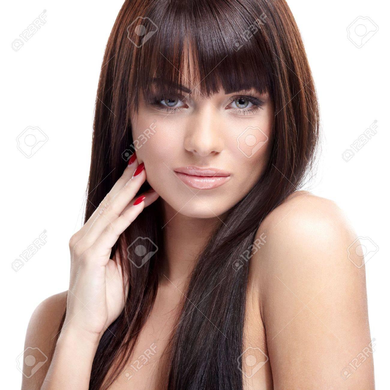 Portrait of beautiful female model on white background Stock Photo - 16551601
