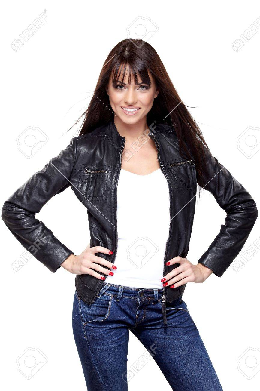 Glamorous young woman in black leather jacket on white background Stock Photo - 17014662
