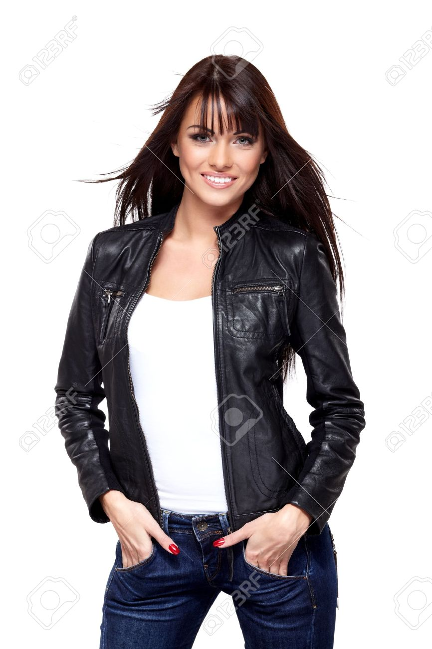 Glamorous young woman in black leather jacket on white background Stock Photo - 17696265