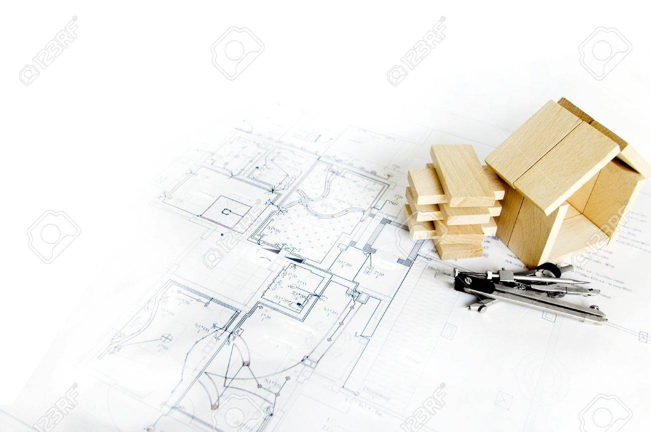 blueprint , wooden model of house and drawing tools Stock Photo - 3057943
