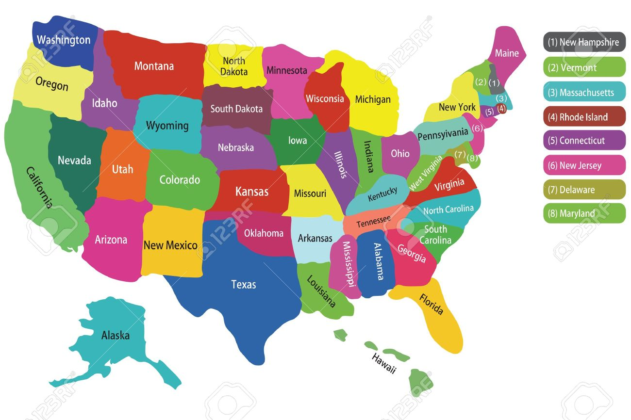 Usa Map With States And Colorful Background To Hightlight Each - Michigan state usa map