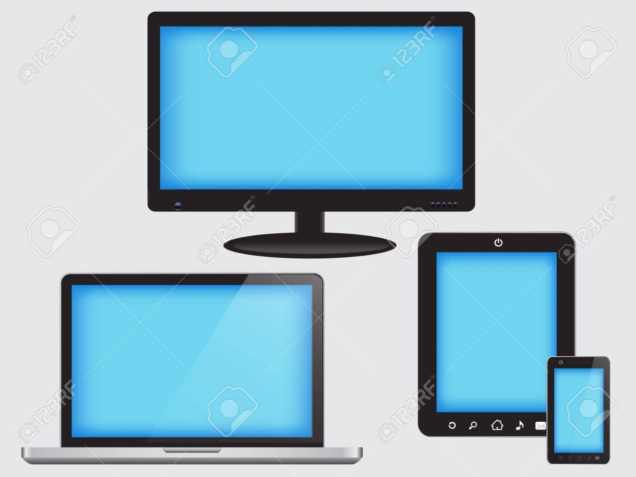 Device Set of monitor, tablet pc,smart phone and laptop Stock Vector - 12865652