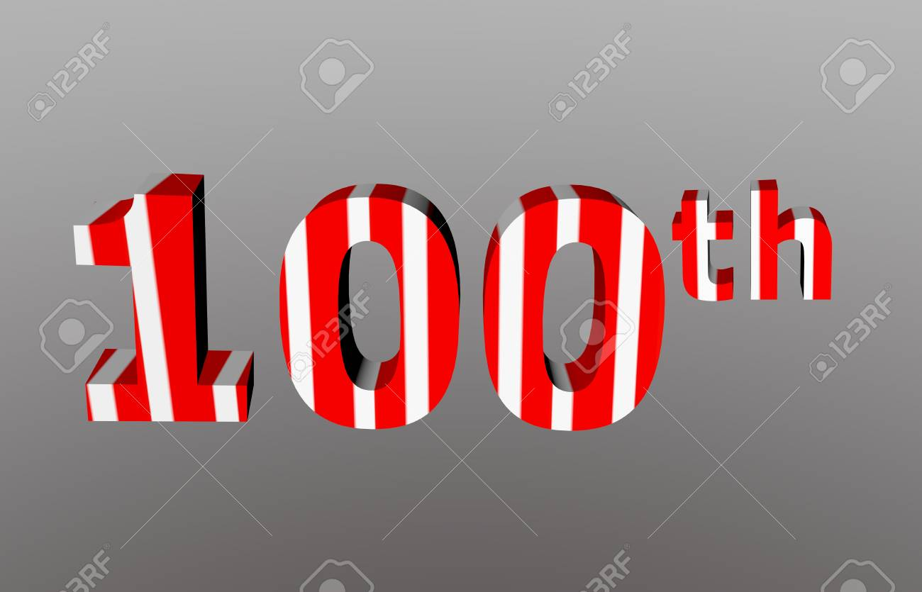 Colorful checkered 3d  anniversary number - 100th Stock Photo - 12986317