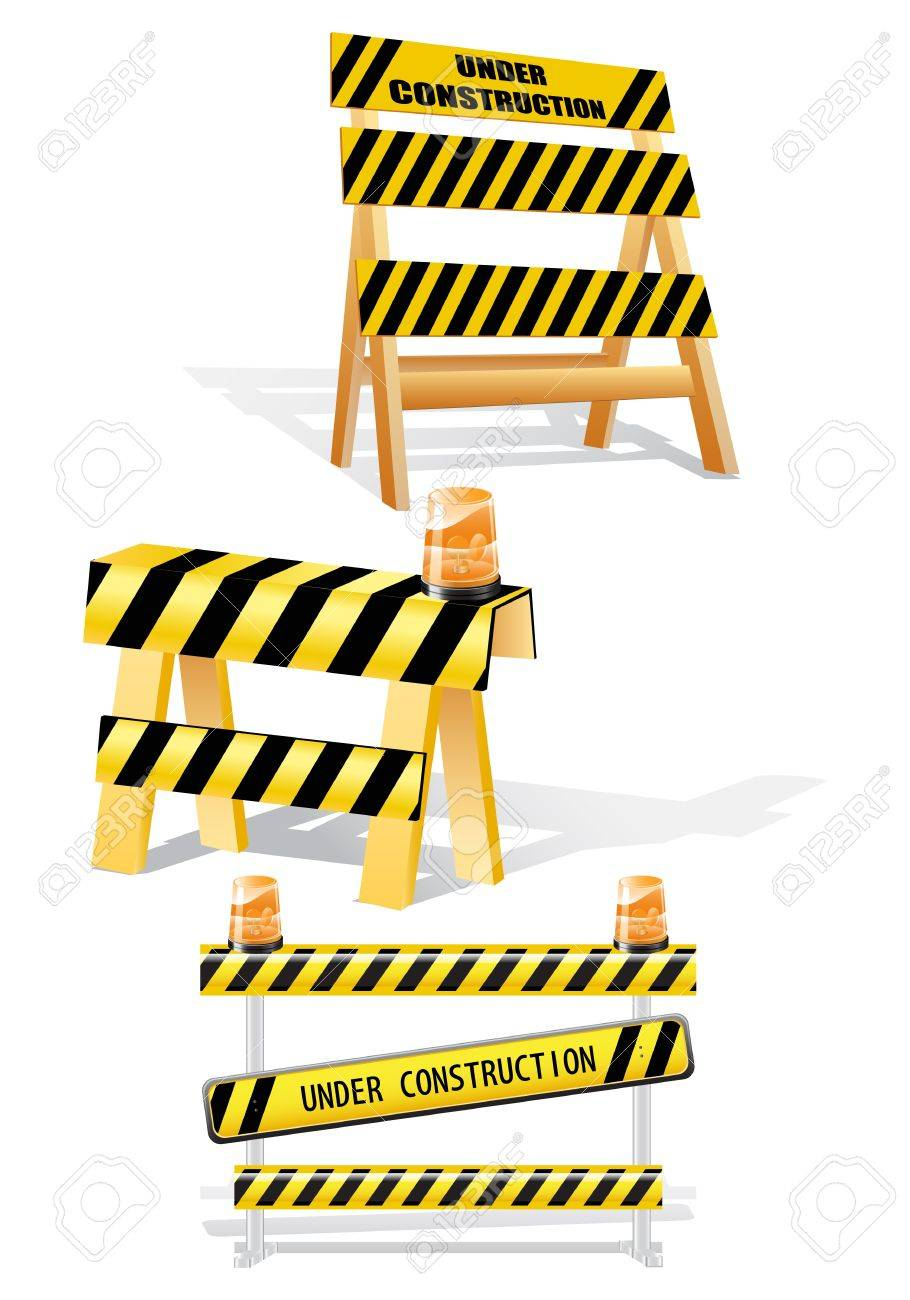 Under construction sign barriers- image can be re-size to any limit Stock Vector - 13617649