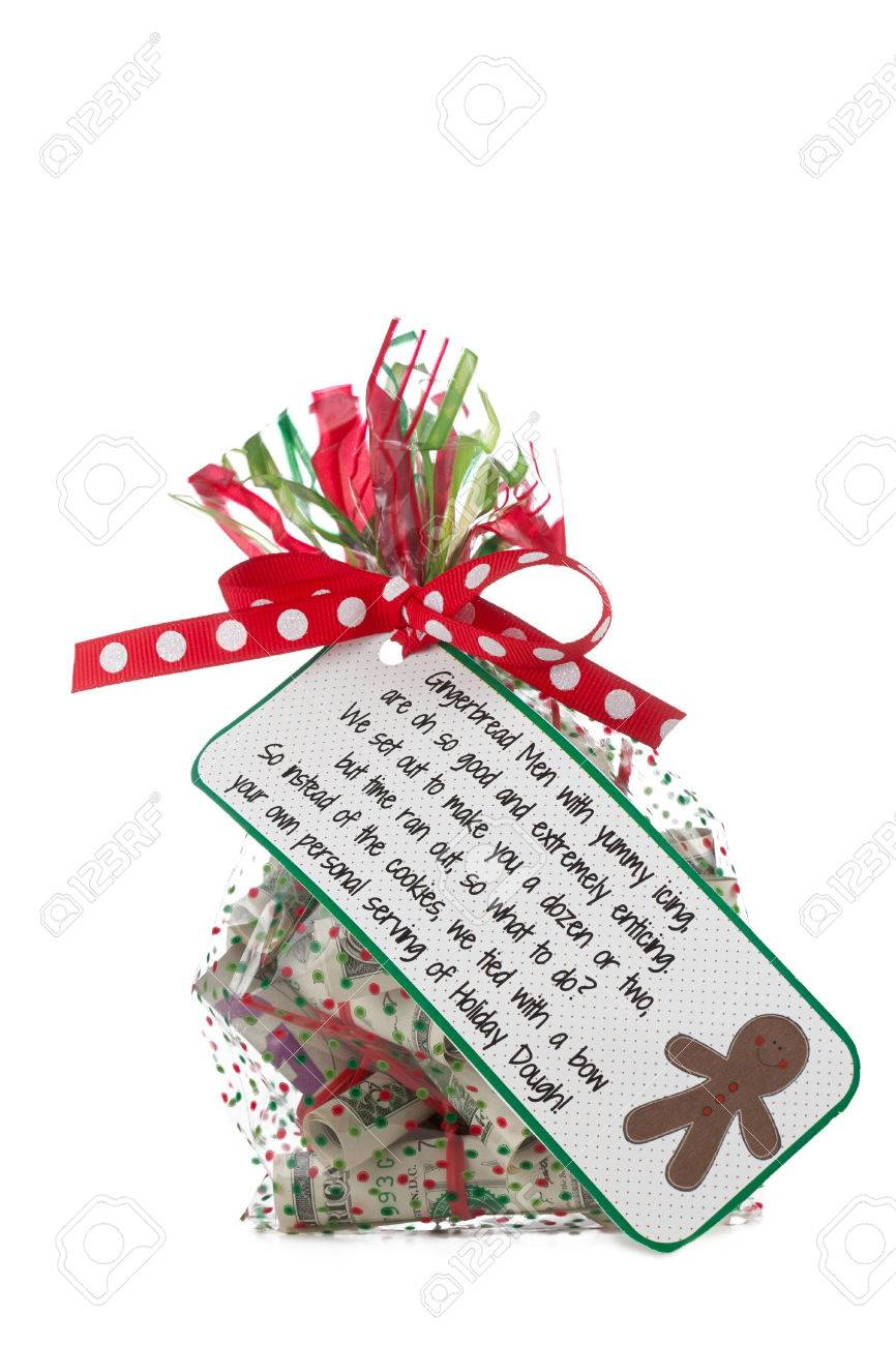 Clear Cellophane Bag Colored With A Green And Red Stripes And