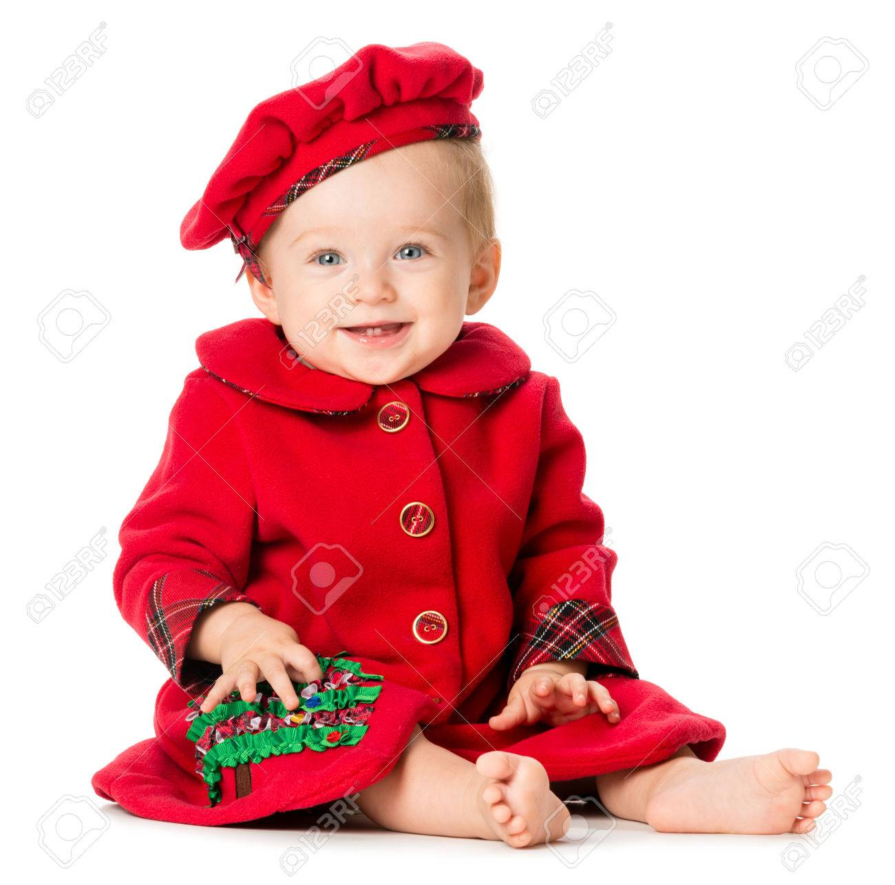 14bf38ba1 Baby Girl In Christmas Outfit Isolated On White Background Stock ...