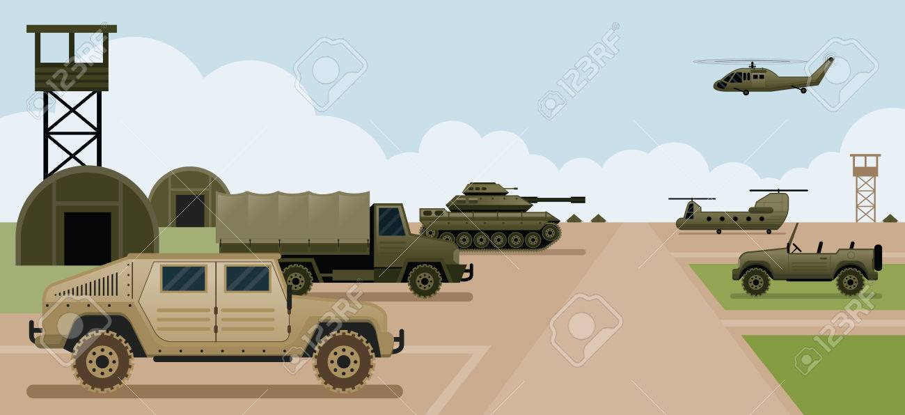 Military Base Camp, Side View with Army and Air Force Vehicles - 63424063