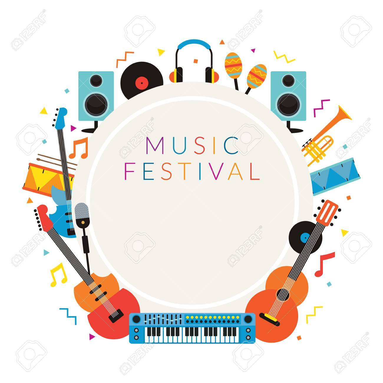 Music Instruments Objects Frame Background, Festival, Event ...