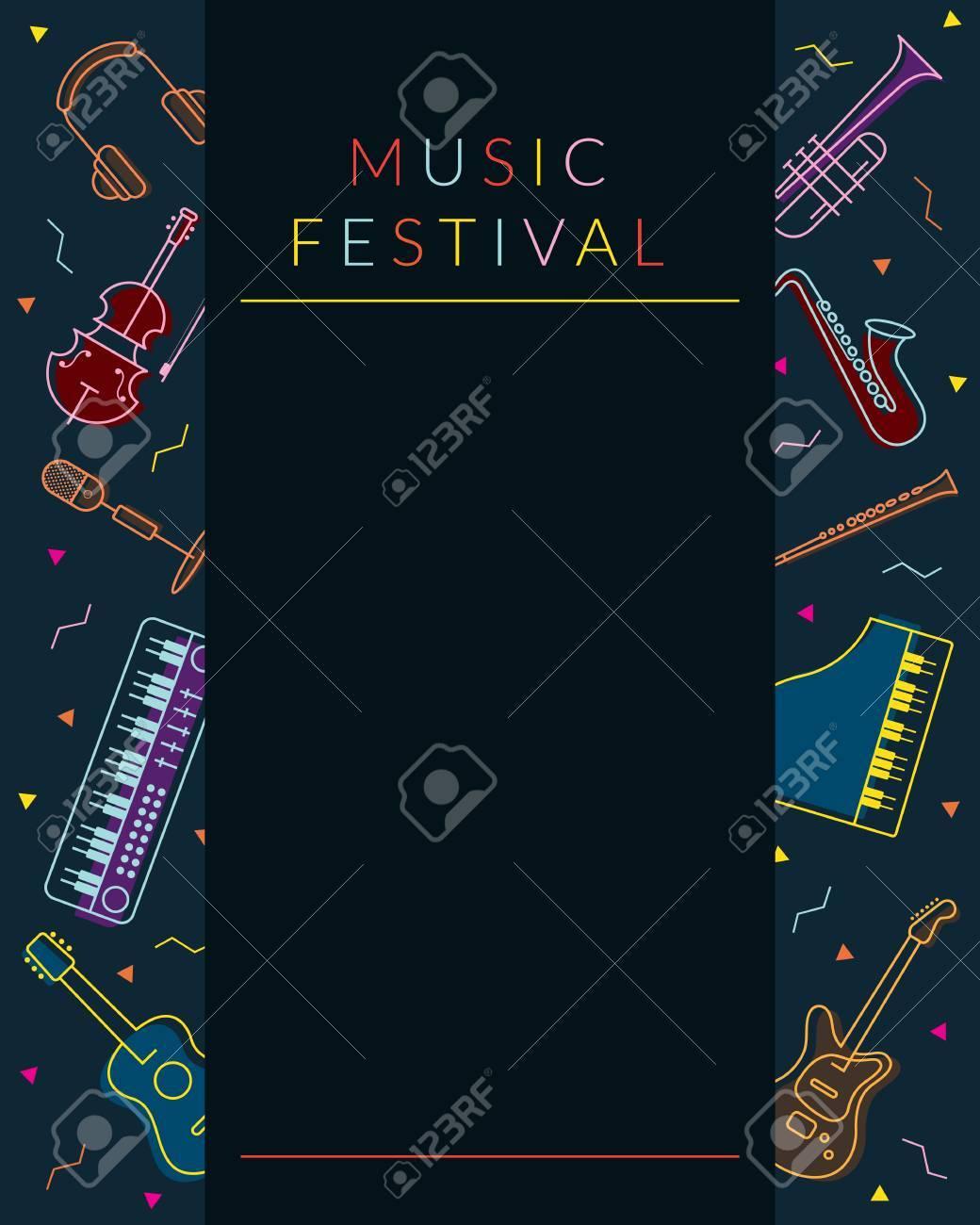 Music Instruments Objects Poster Frame, Line Design, Festival ...