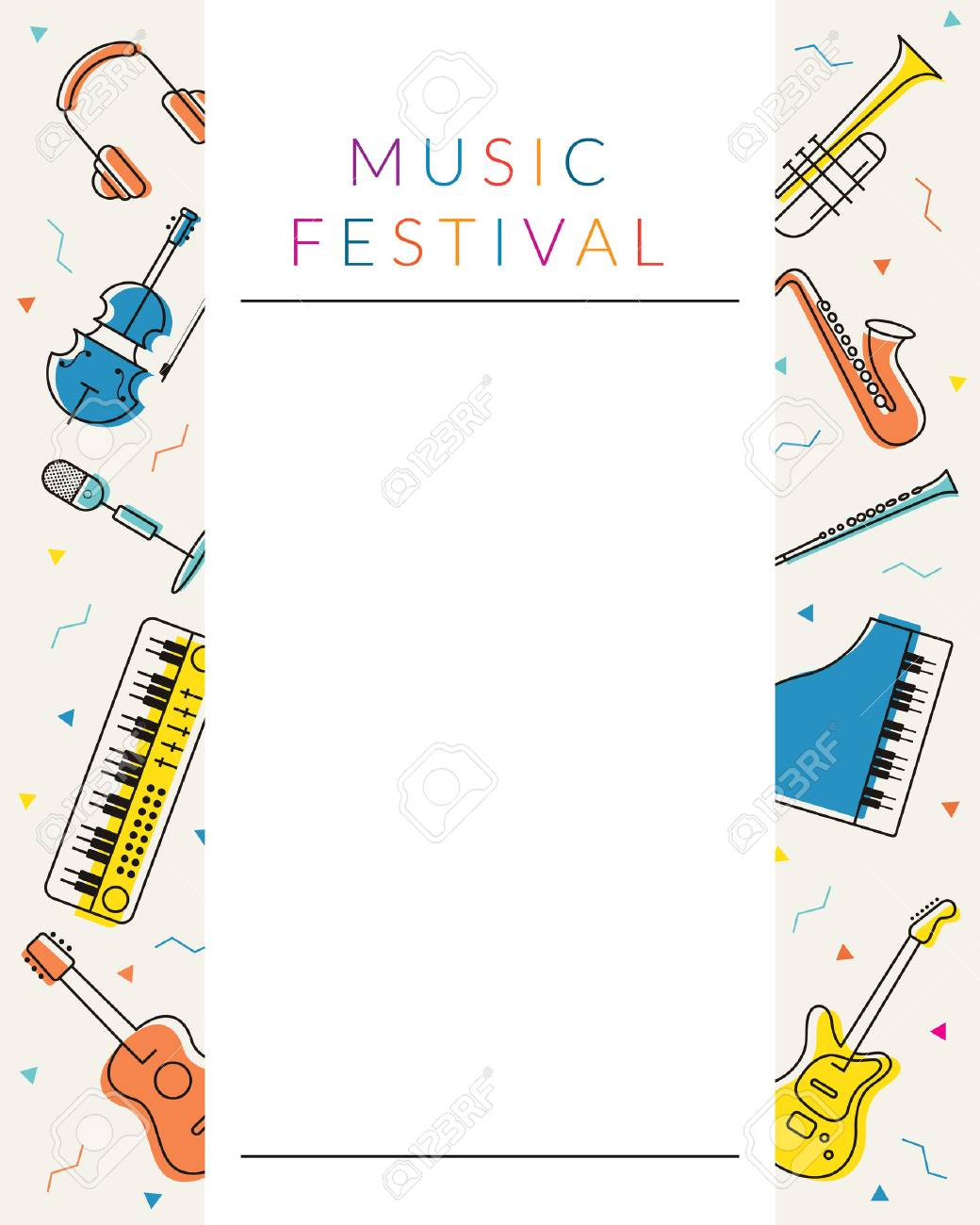 Music Instruments Objects Poster Frame, Line Design, Festival ...