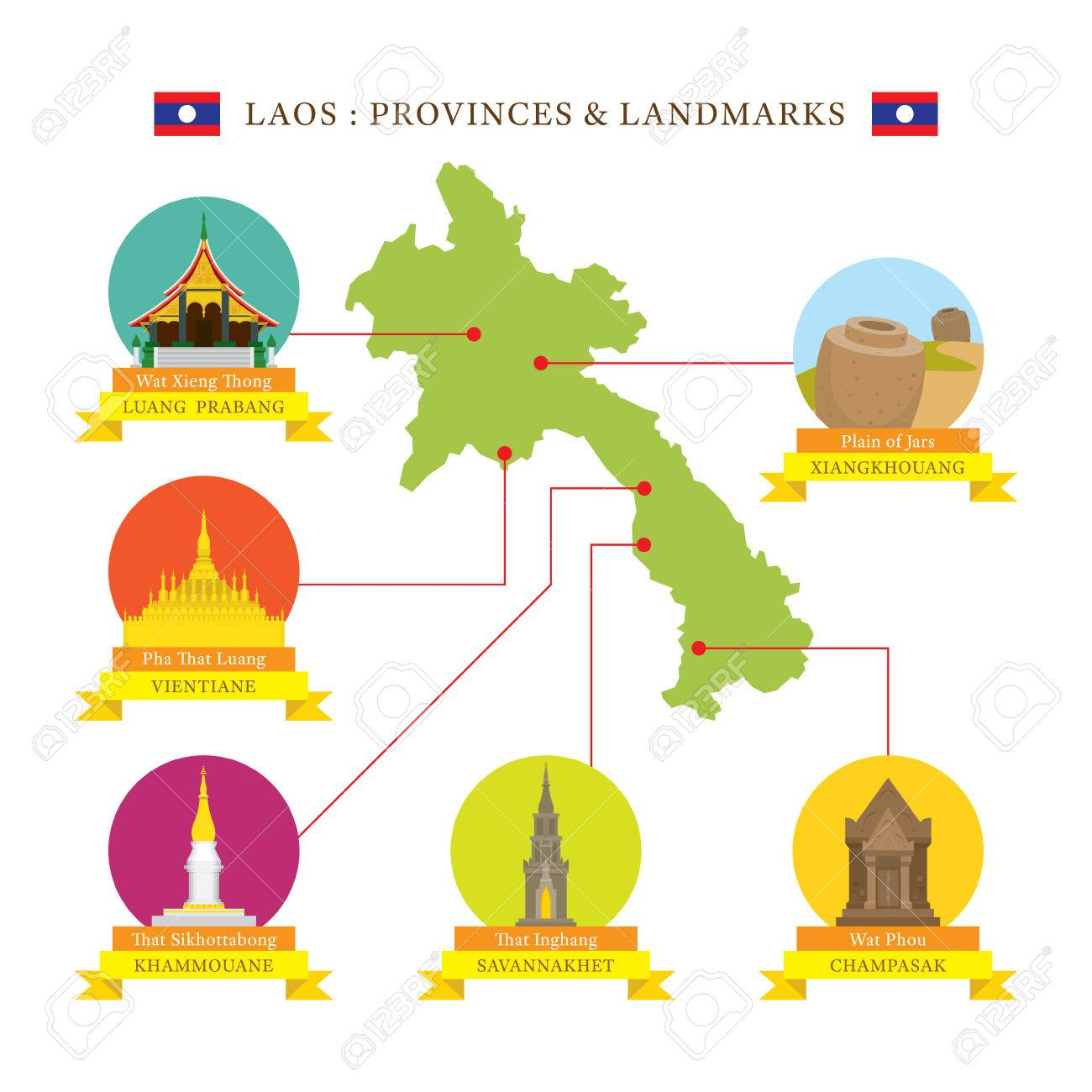 Laos Provinces And Landmarks Icons With Map Travel And Tourist