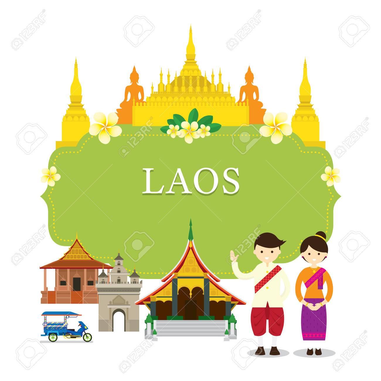 Laos Sehenswürdigkeiten, Menschen In Der Traditionellen Kleidung ...
