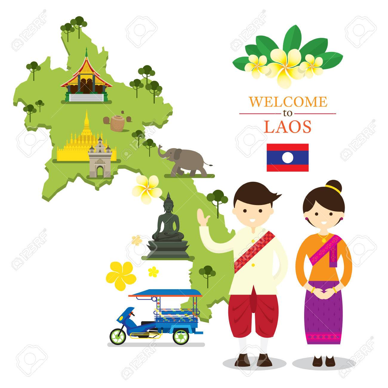 Laos Map And Landmarks With People In Traditional Clothing Culture