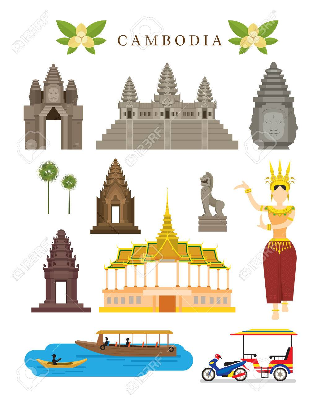 Cambodia Landmarks and Culture Object Set, Colourful, Design Elements, Architecture and Transportation - 70778983