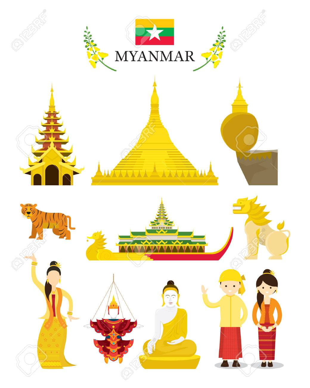 Myanmar Landmarks And Culture Object Set National Symbol And