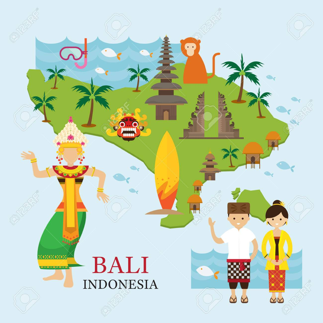 Bali Indonesia Map With Travel And Attraction Landmarks Tourism