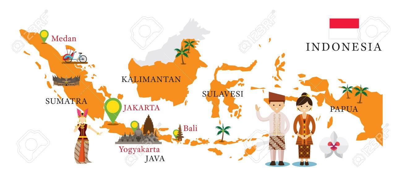 indonesien sehenswürdigkeiten karte Indonesien Karte Und Sehenswürdigkeiten Mit Menschen In