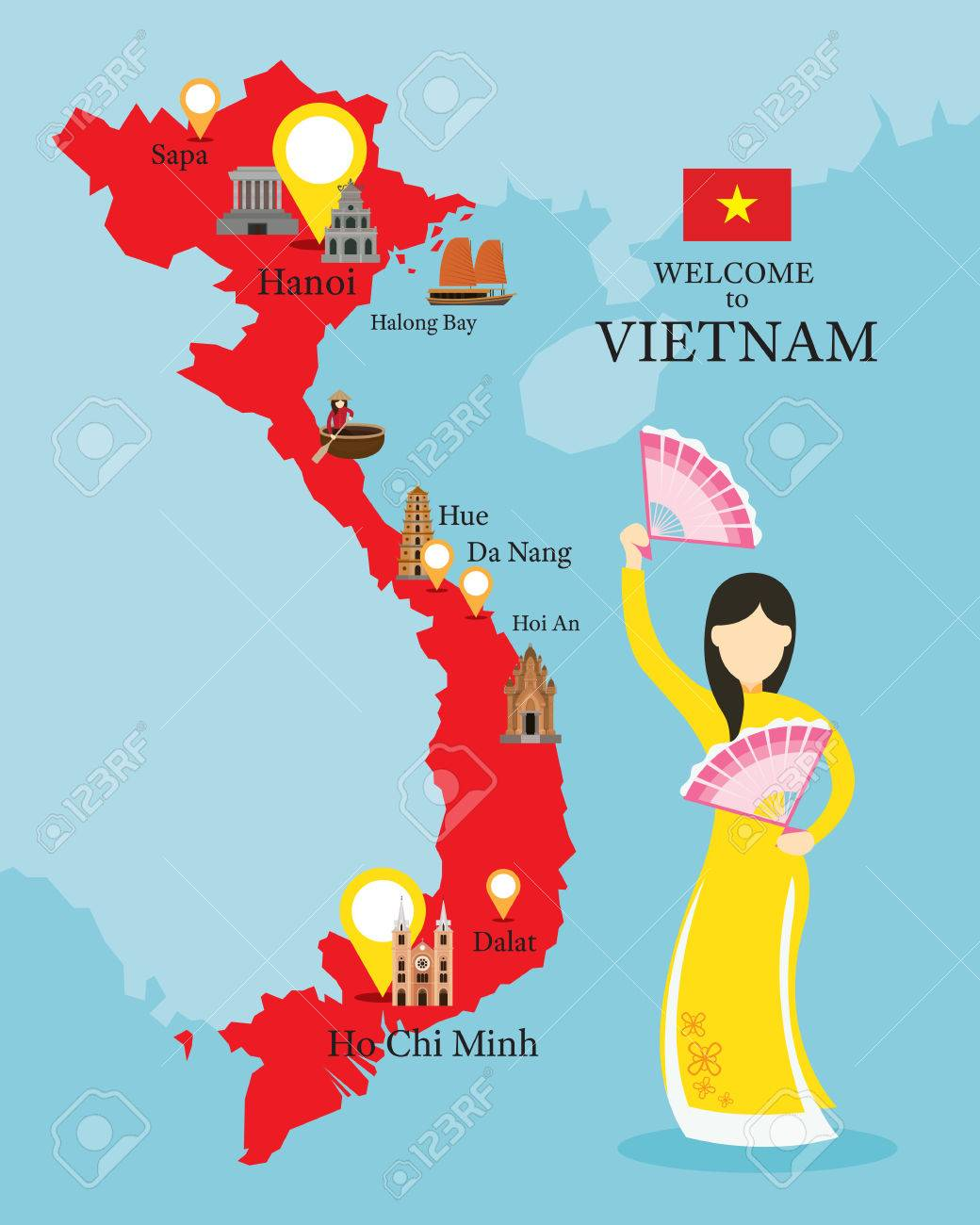Vietnam Map And Landmarks With People In Traditional Clothing ...