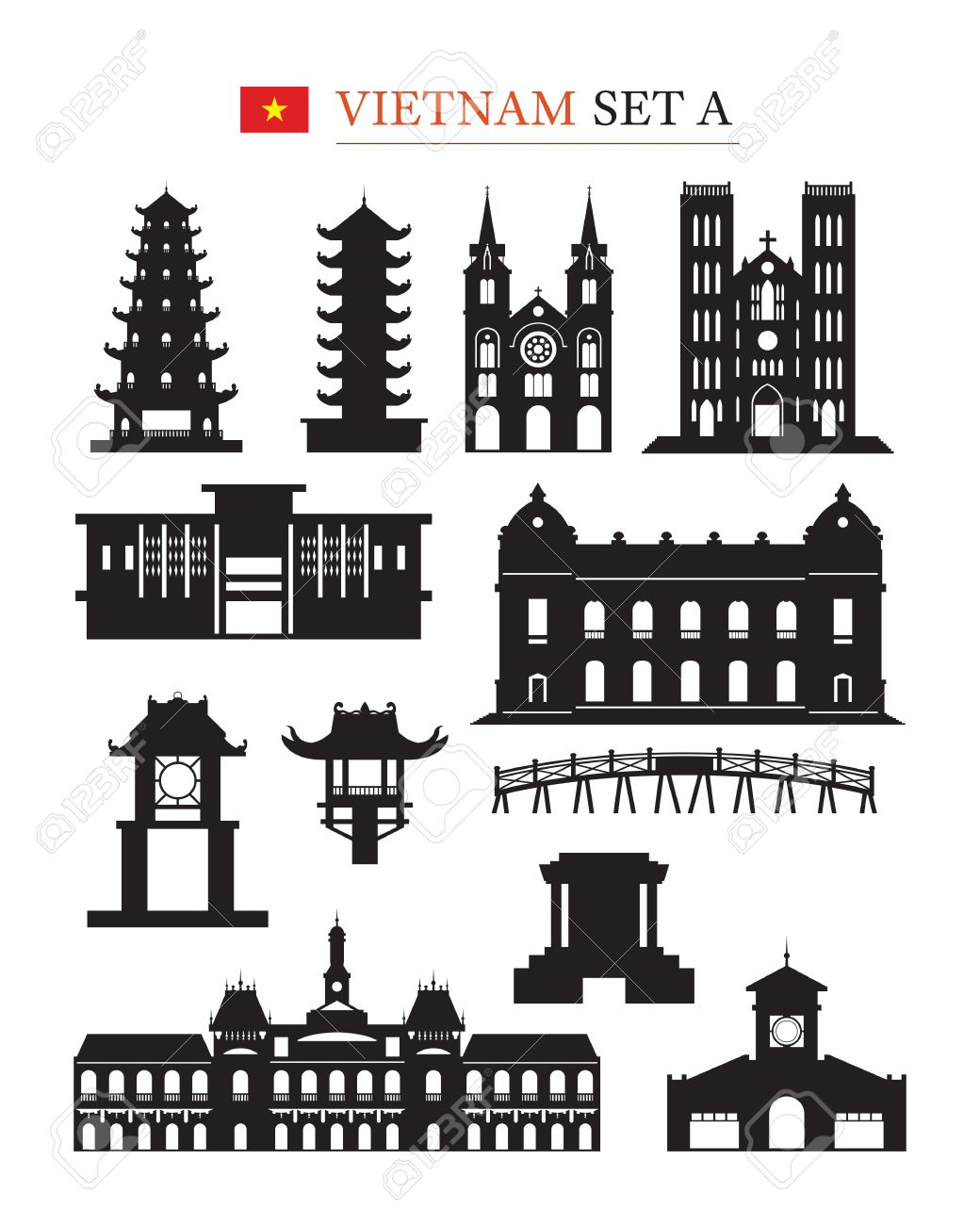 Architecture Design Elements vietnam landmarks architecture building object set, design