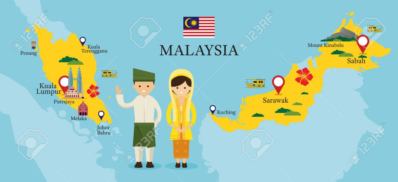 malaysia map and landmarks with people in traditional clothing culture travel and tourist attraction