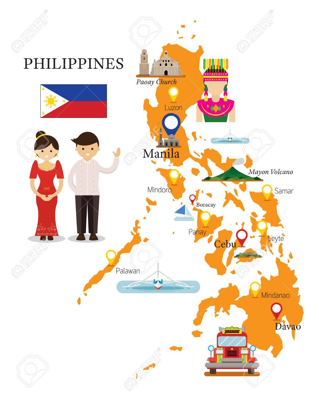 Tourist Map Of The Philippines Philippines Map And Landmarks With People In Traditional Clothing