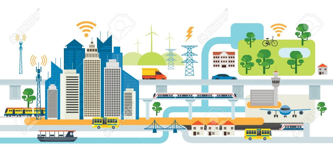 Smart City Infrastructure , Transportation, Connected, Energy and Power Concept - 85276586