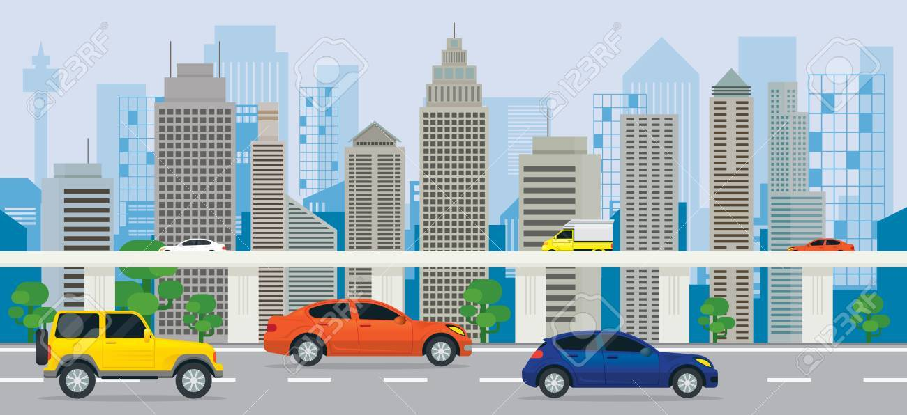 city building side. City Building With Cars On The Road And Expressway  Side View Transportation Cityscape With On The And