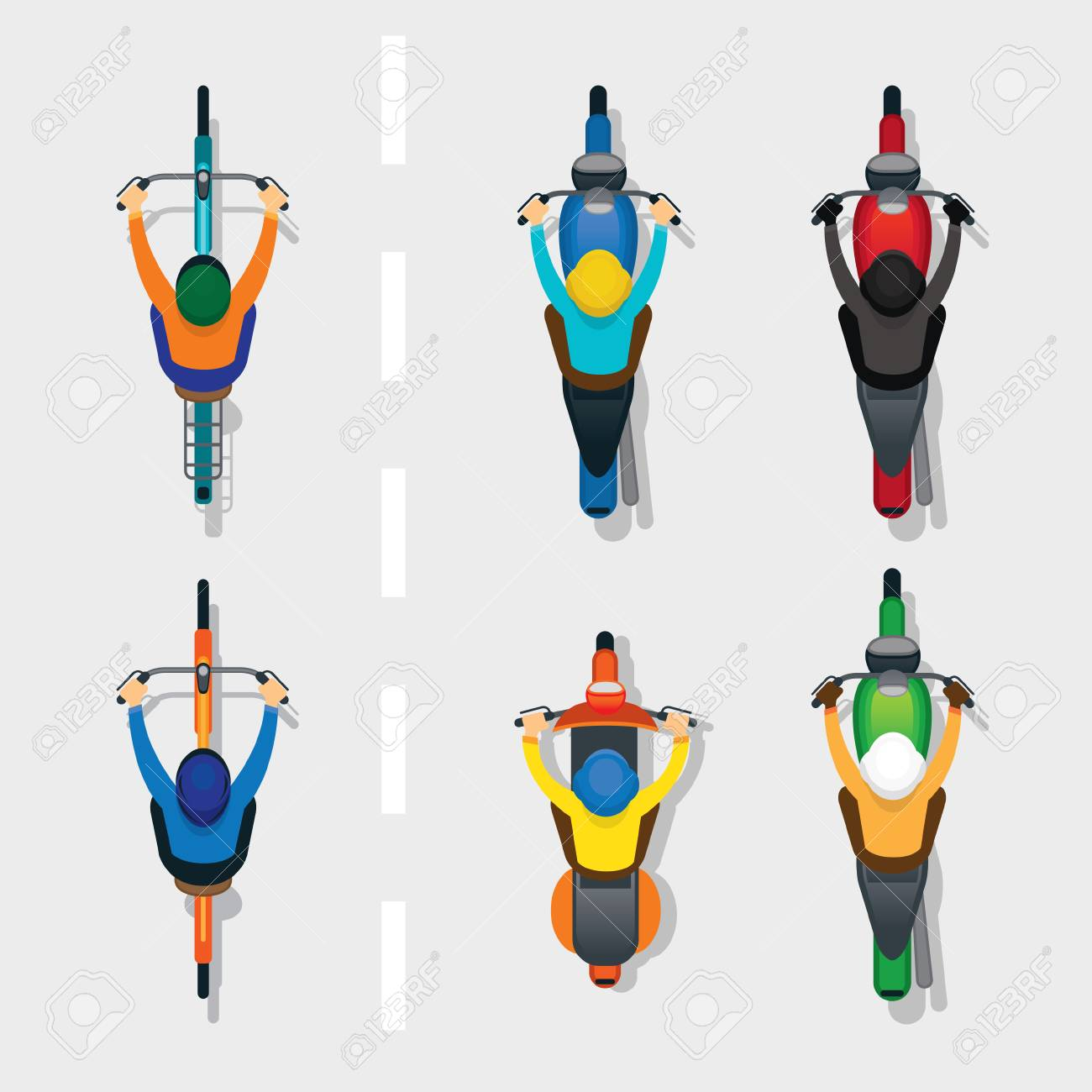 People on Motorcycles and Bicycles Top or Above View, on the Road, Automobile and Transportation - 85276608