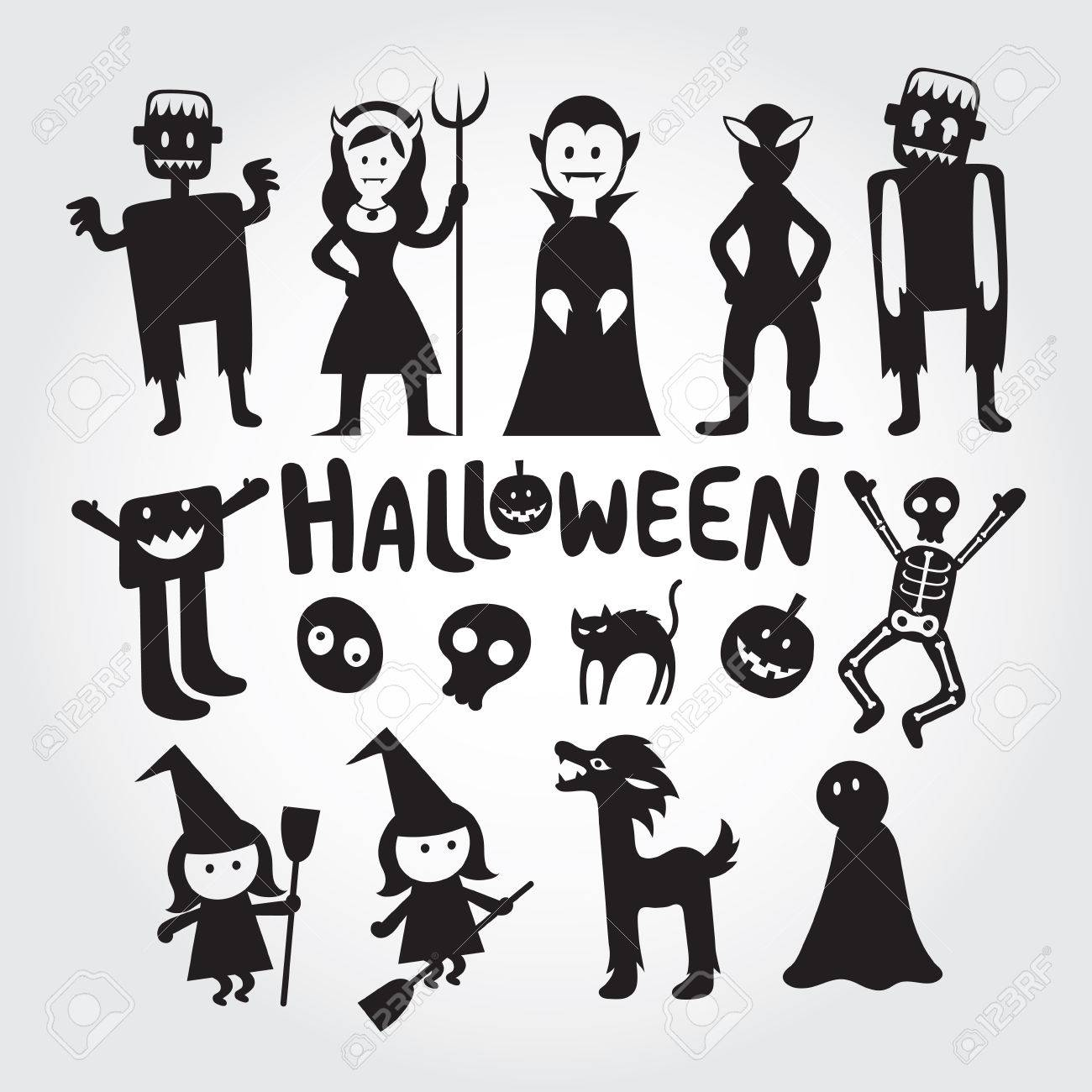 Halloween Monster Characters Set Silhouette Black And White Royalty Free Cliparts Vectors And Stock Illustration Image 86192101