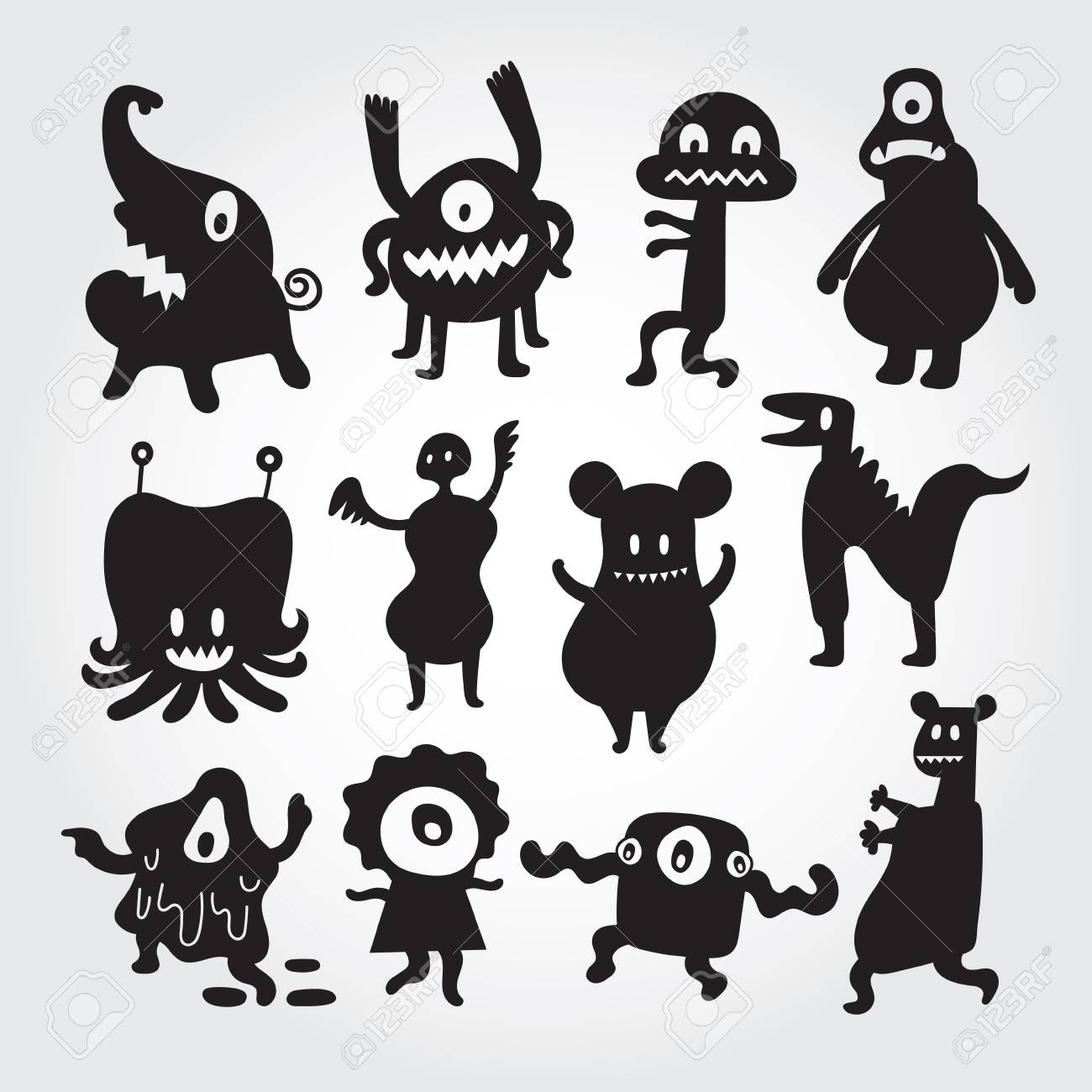Cute Monsters Cartoon Characters Set Silhouette Black And White
