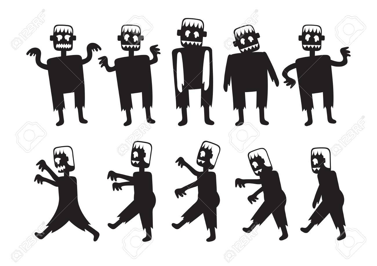 Zombie Cartoon Characters Set Silhouette Black And White Color