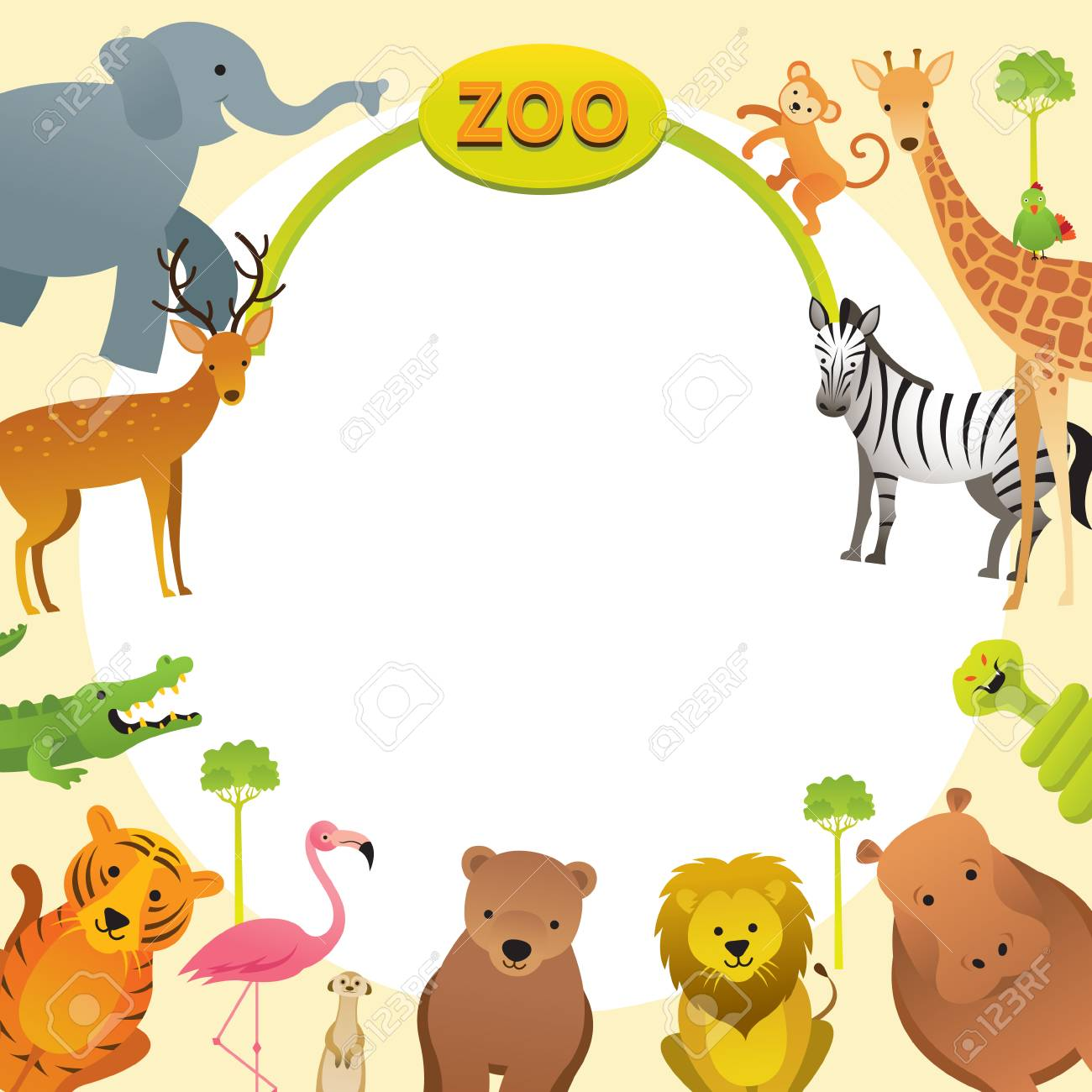 Group of Wild Animals, Zoo, Frame, Entrance Sign, Kids and Cute..